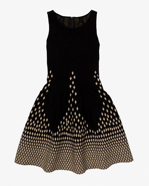 Fit & Flare gold lurex dress