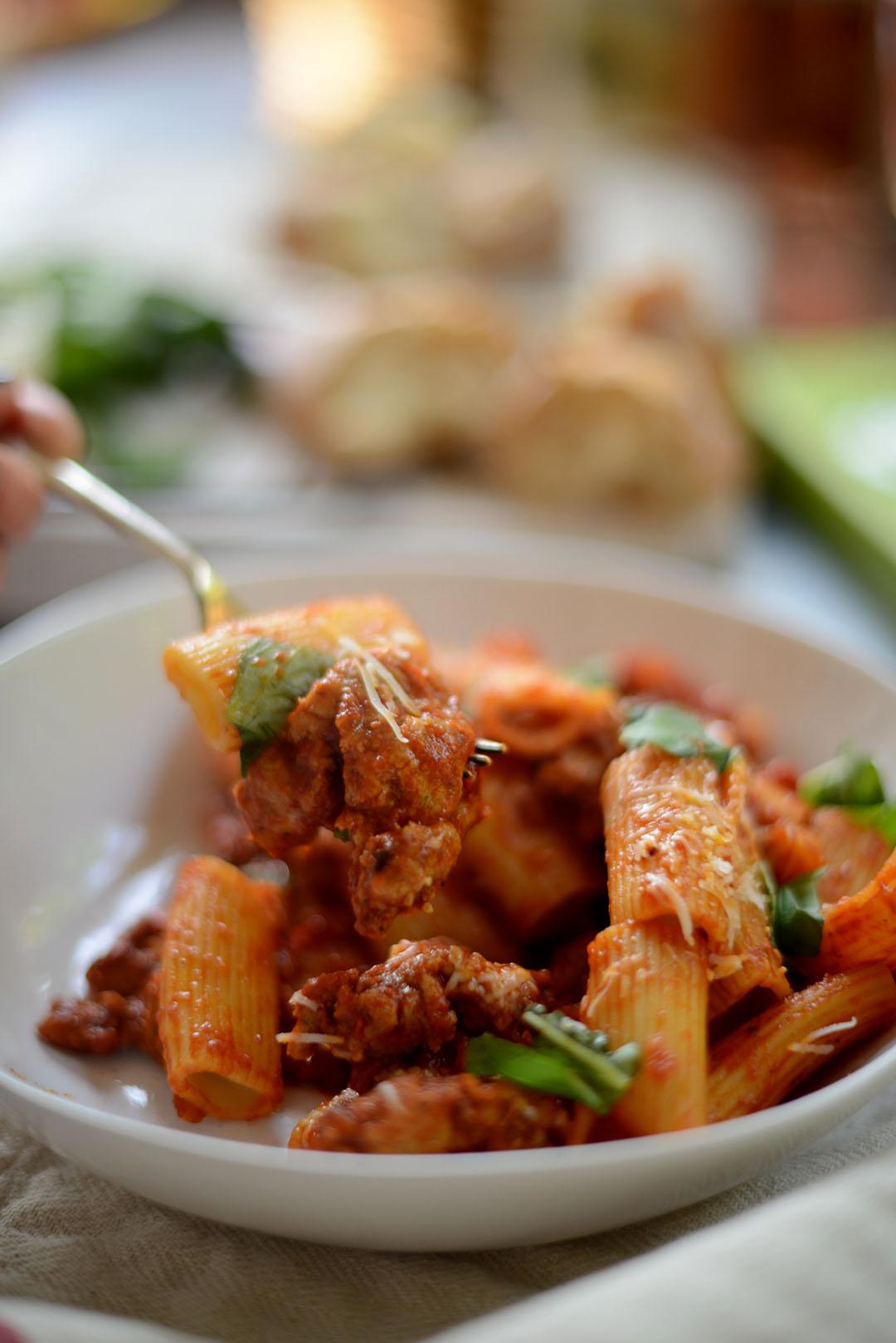 spicy sausage meat rigatoni supper recipe