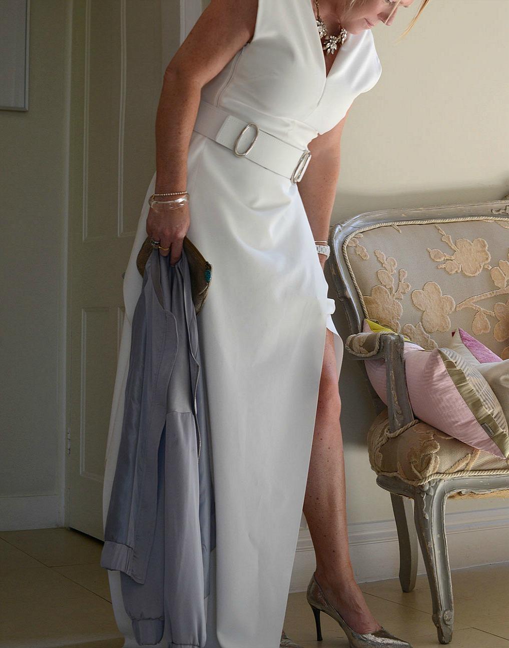 sara delaney wearing a maxmara summer event dress