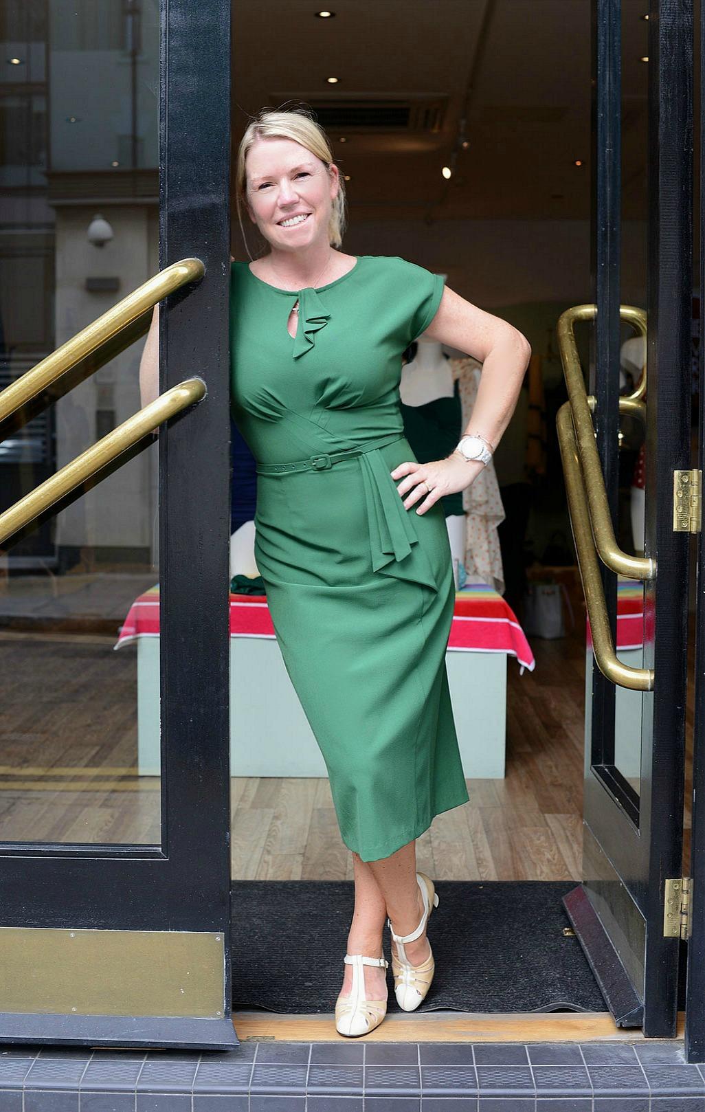 sara delaney wearing a revival retro boutique dress