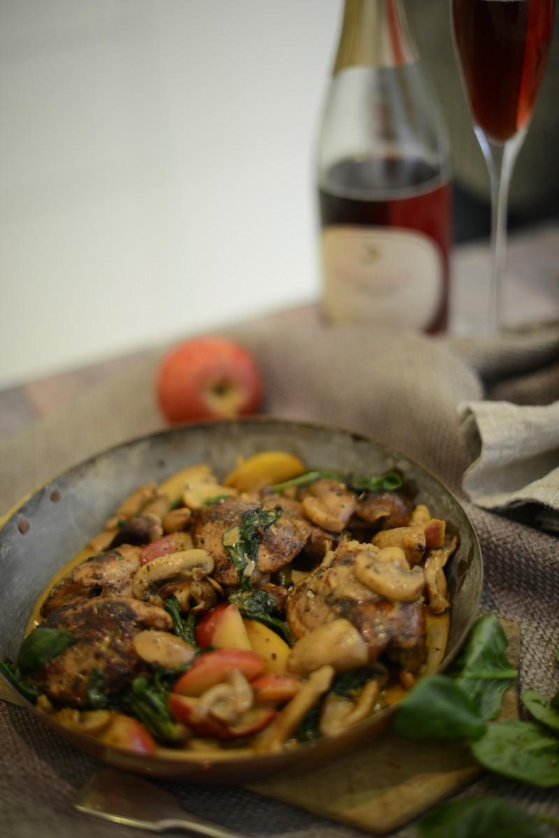 chicken in cider recipe photographed by sara delaney