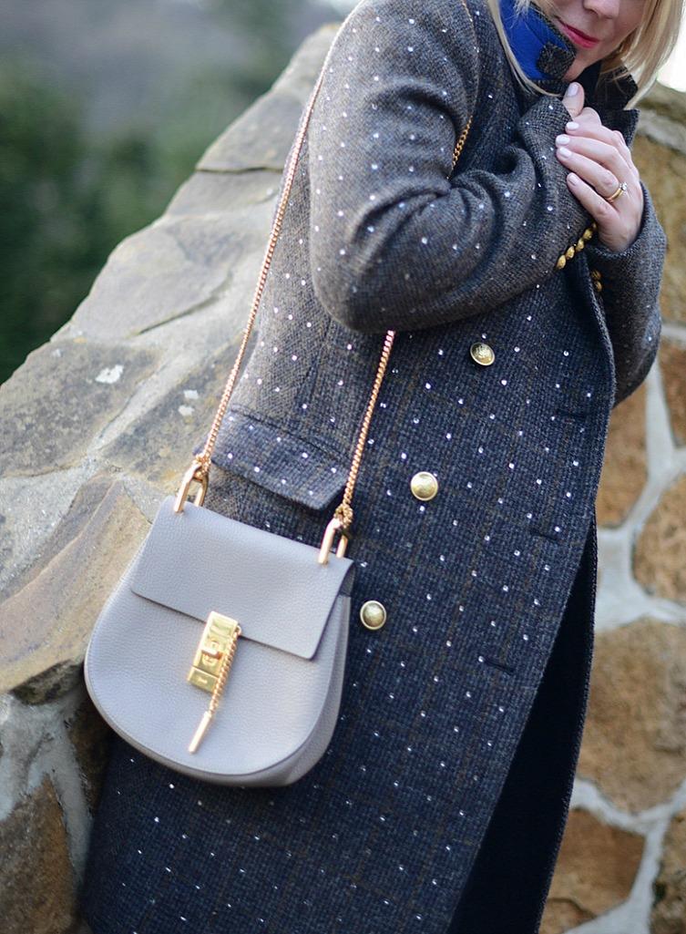 j.crew embellished coat worn by fashion stylist and blogger sara delaney