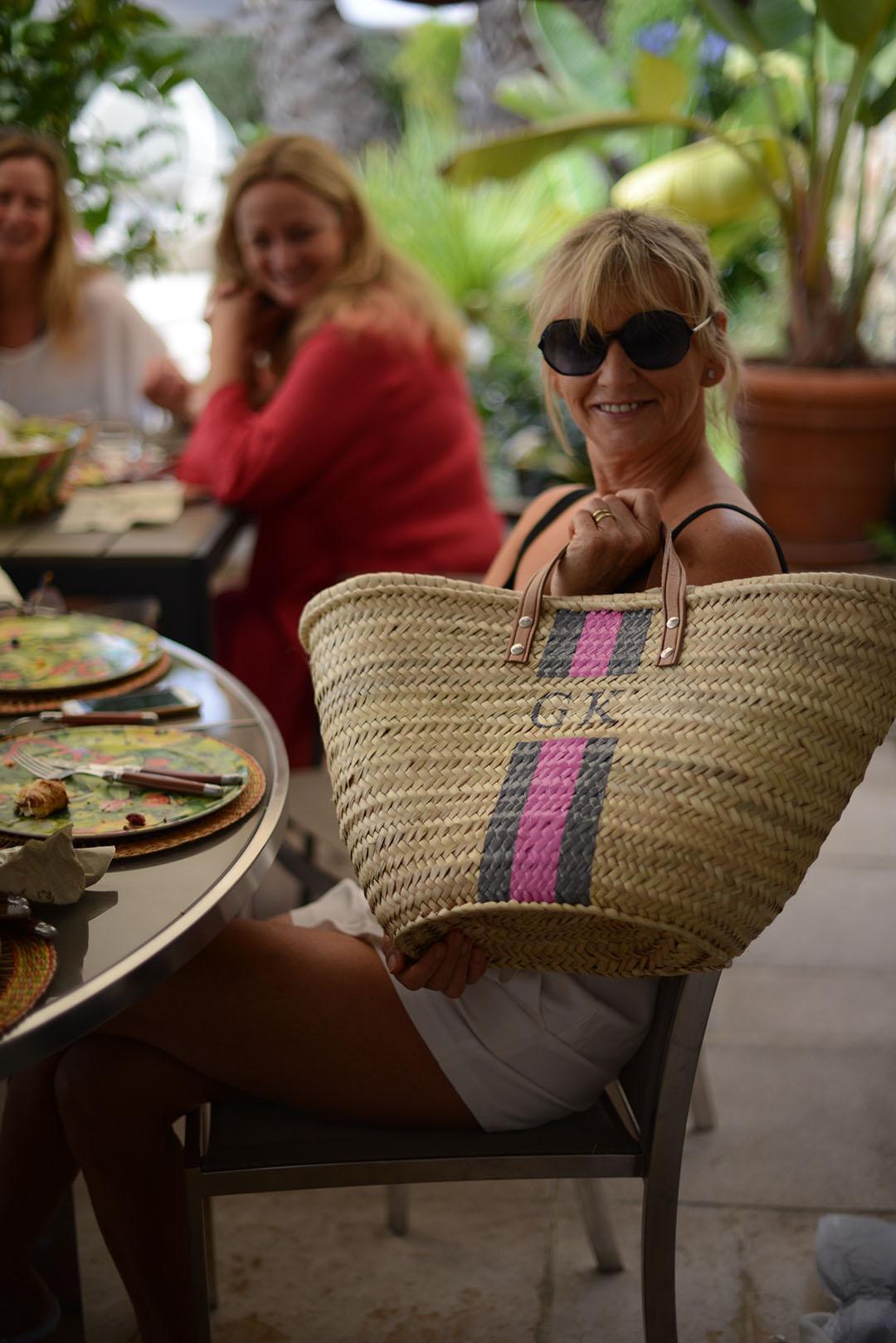 rae feather monogrammed beach bag