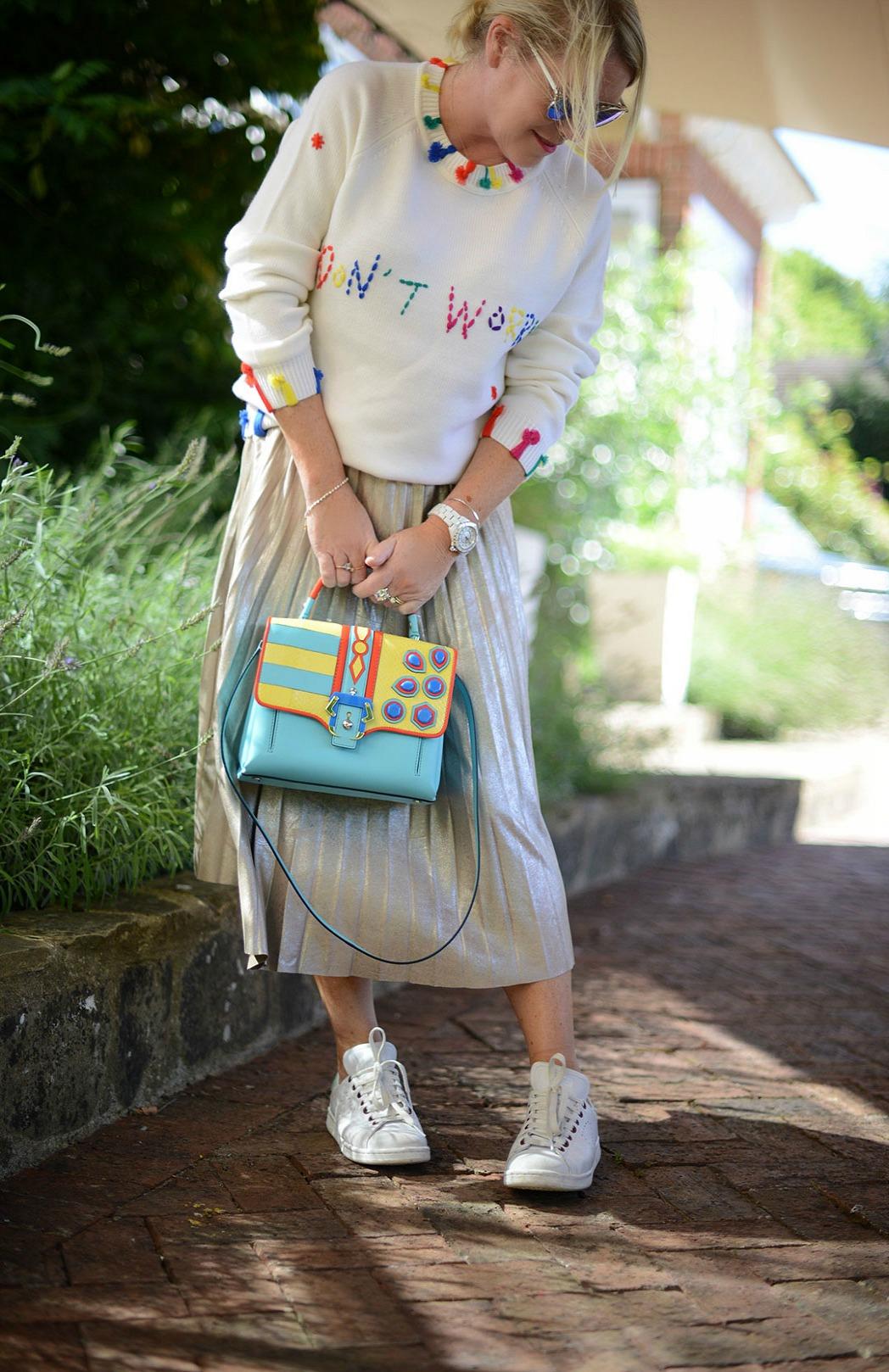 shouty slogan sweater by mira mikati worn by stylist and fashion blogger sara delaney