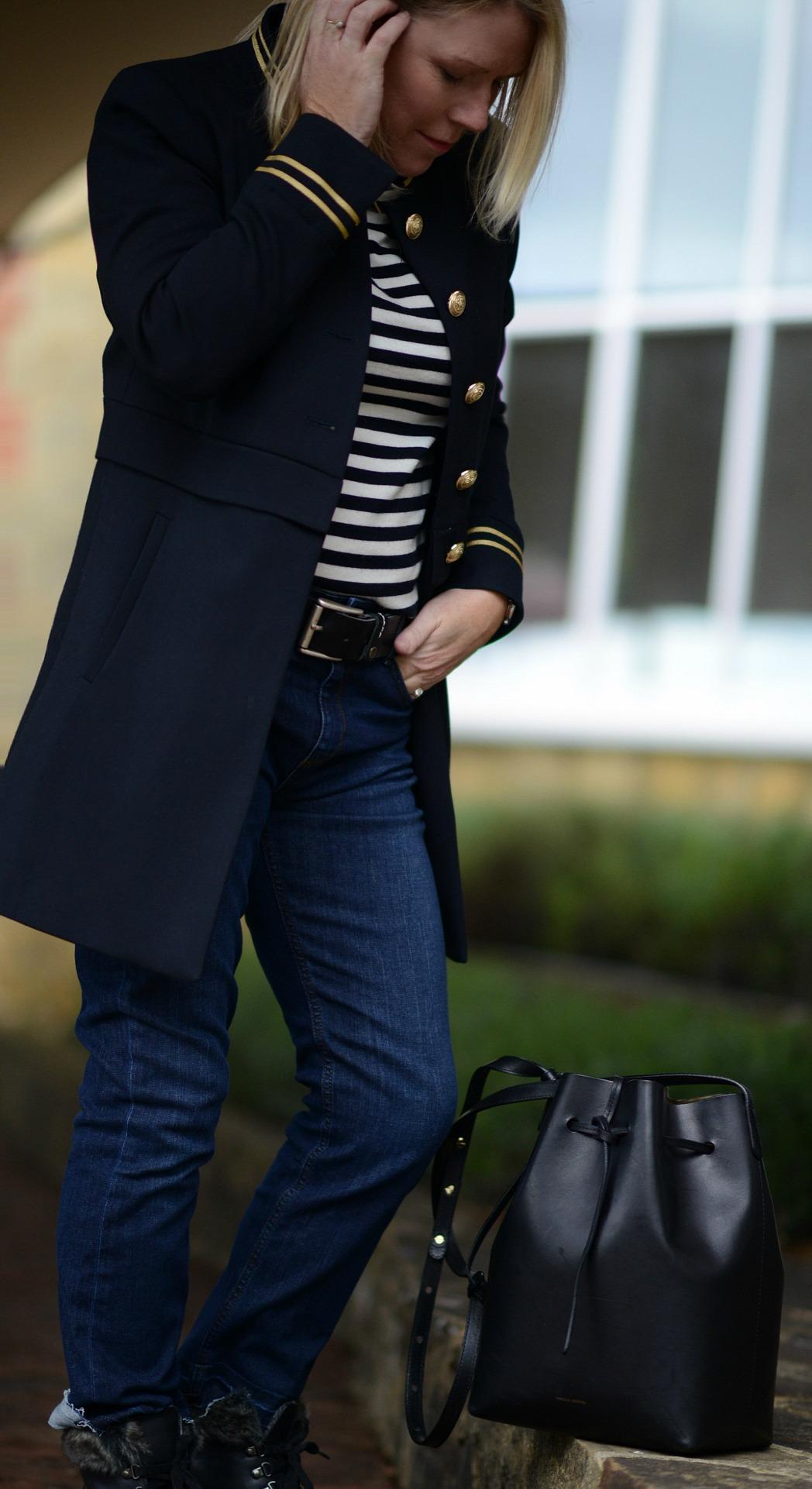 mango military trend jacket worn by stylist and blogger sara delaney