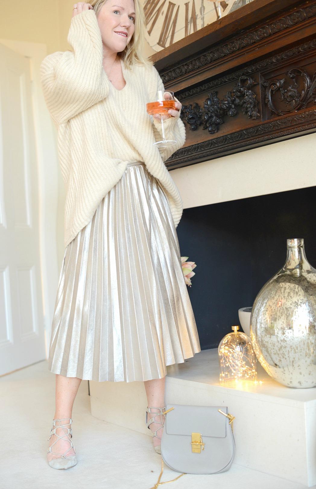 metallic zara skirt worn by fashion stylist and blogger sara delaney